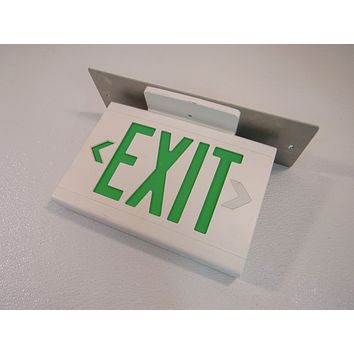 Hubbell Lighted Exit Sign Two Sided 13in x 9in 120 VAC 277 VAC LED LXUGW -- Used