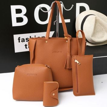 4PCS PU Leather Shoulder Bag