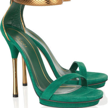 Gucci Suede And Glossed-Python Sandals