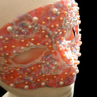 Peach and Pearl Lace Mask, Hand Beaded Mask, Upcycled New Years Eve Masquerade Mask, Glamorous Glistening Peach Mask, Free US Shipping