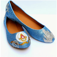 Cinderella Flats in Baby Blue with Crystals