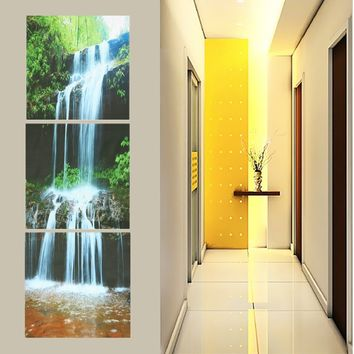 3 Panel Waterfall HD Canvas Print Modern Painting Picture Wall Art Poster Home Decor (Effect Size: 50 x50cm / Sheet)