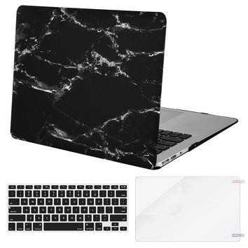 Mosiso for Macbook Air Pro 13 13.3 Retina Marble Shell Case Cover 2013 2014 2015 Silicone Keyboard Skin + Screen film Protector