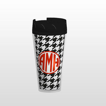 Customizable Houndstooth Monogram Tumbler by AlyssaCreates on Etsy