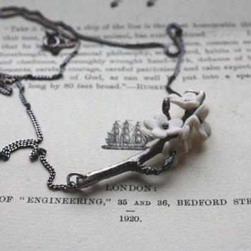 Summer blossom antique / oxidized solid sterling silver necklace with porcelain flowers - cherry blossom branch - silver twig necklace