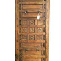 Main Entrance Door Floral Carved Wood Indian Door Panel