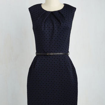 Mid-length Cap Sleeves Sheath Teaching Classy Dress in Midnight Diamonds