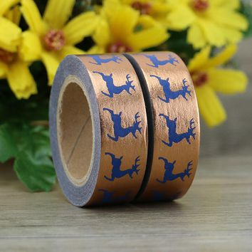 1X 10m Foil Washi Tape Paper Christmas Elk Japanese Stationery Kawaii Stickers Scrapbooking Tools Masking Tape Diy Photo Album