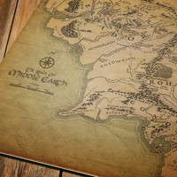 Vintage wall map of Middle Earth Lord of The Rings Fine Art archival print