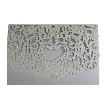 Paper Rectangular Laser-Cut Pearlescent Scroll Swirl Invitations with Heart, Silver, 7-1/4-Inch, 8 count
