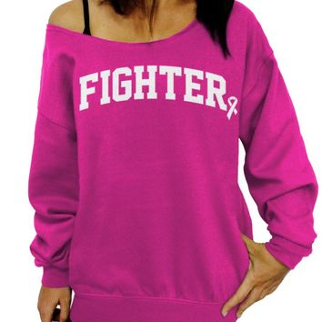 Fighter, Breast Cancer Awareness, Survivor Sweater, Women's Slouchy Sweatshirt
