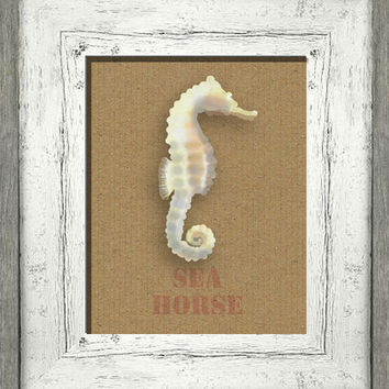 Printable digital art, instant download, seahorse beach cottage, shabby cottage chic, burlap distressed look, nautical wall decor, diy art