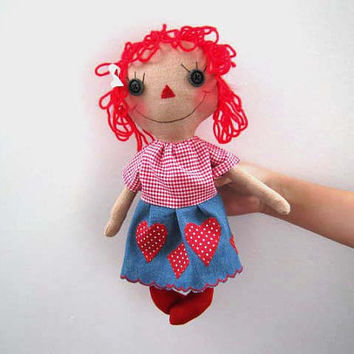 Primitive doll, Raggedy Doll, Annie Doll, Handmade doll, Cloth Doll, Ragdoll, Soft Doll, Collectible Doll, red