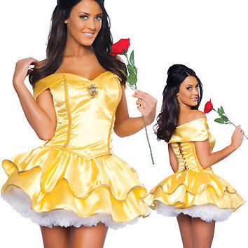 Sexy Fancy Cinderella Snow White Princess Fairy Costumes for Women Halloween Costume Beauty and the Beast Cosplay