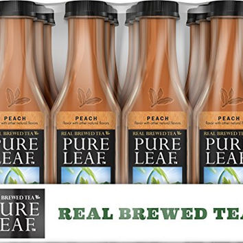 Pure Leaf Iced Tea, Peach, Sweetened, Real Brewed Tea, 18.5 Ounce Bottles (Pack of 12)