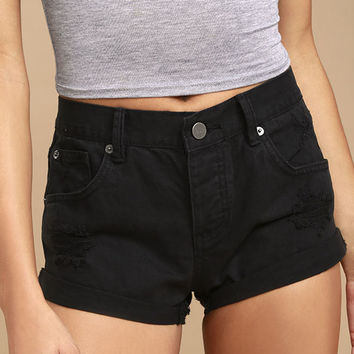 Amuse Society Crossroads Black Distressed Denim Shorts