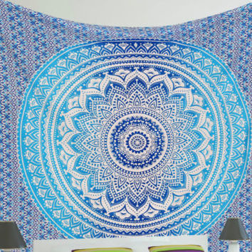 Ombre Indian Mandala Tapestry Wall Hanging Hippie Queen Bedding Bedspread Throw