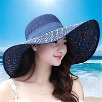 2016 Straw Hats For Women's Female Summer Ladies Wide Brim Beach Hats Sexy Chapeau Large Floppy Sun Caps New Brand Spring Praia