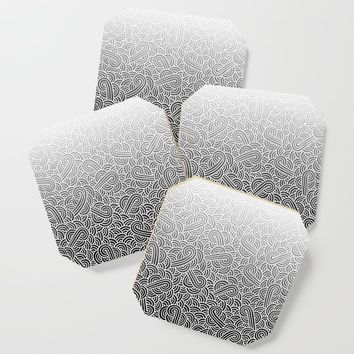 Faded black and white swirls doodles Coaster by savousepate
