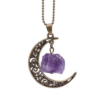 Vintage Galaxy Moon Crystal Crescent Ancient Bronze Purple Natural Stone Opal Necklace Pendants