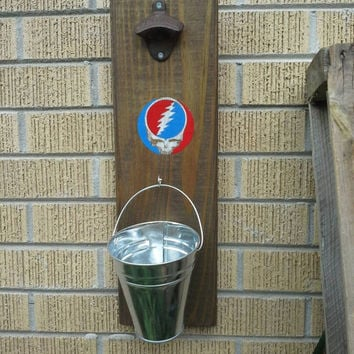 Grateful Dead Bottle Opener Solid Wood Grateful Dead Steal Your Face Wallhung Bottle Opener with Bucket Cap Catcher Grateful Dead Barware