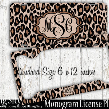 leopard monogram license plate frame holder cheetah animal print pattern personalized custom vanity