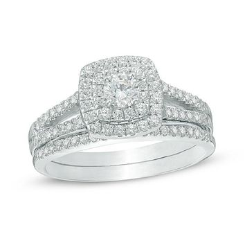 3/4 CT. T.W. Diamond Halo Split Shank Bridal Engagement Ring Set in 14K White Gold