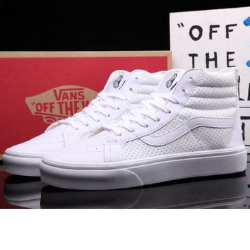 """vans"" Classic tending leather hollow zipper high top casual shoes Full white"
