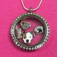 Pit Bull Pibble Floating Charm Locket Necklace - Circle with Crystals