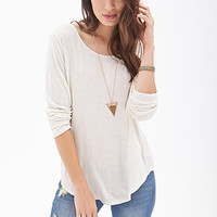LOVE 21 Slub Knit Cutout Back Top