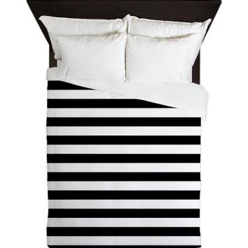 Duvet Cover - Black and White Stripes Duvet Cover - Glamour Decor - Fashion Decor - Dorm Decor