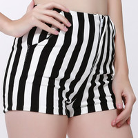 Slimming High Waist Striped Shorts