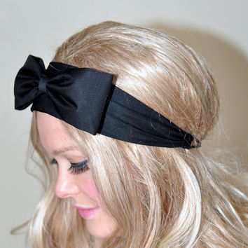 Black Bow Headband Black Headwrap Big Bow Headband Girly Cute Adjustable Gift under 25