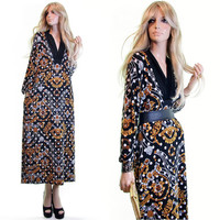 diamonds and gold scarf print dress baroque print dress vintage 80s dress hip hop versace inspired dress gold black dress jewelry v plunge s