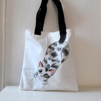 Cat  Tote Bag, Handpainted Cat Illustration