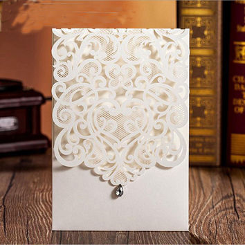 100pcs Vertical White Elegant Engagement card  / Wedding Invitation Custom With Rhinestone & Laser Cut Flower,CW5001
