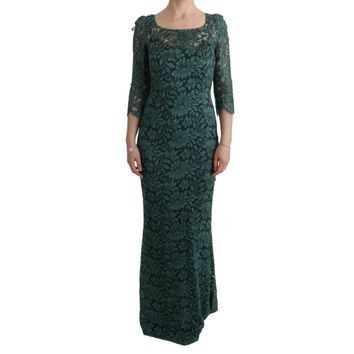 Dolce & Gabbana Green Floral Crystal Ricamo Sheath Dress