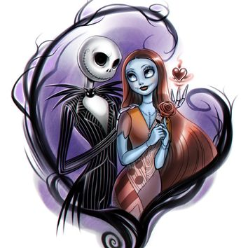 5D Full Square round Diamond Embroidery Diamond Painting Cross Stitch Nightmare Before Christmas Jack and Sally MosaicHome Decor