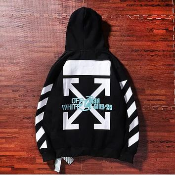 Off White New fashion water painting letter arrow print couple hooded long sleeve sweater Black