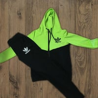 Adidas Fashion Drawstring Sport Gym Set Two-Piece Sweatshirt Hoodie