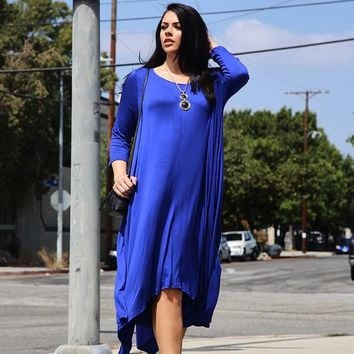 Low Flared Long Maxi Plus Size Dress