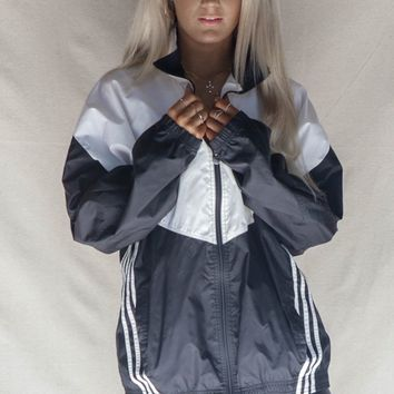 VINTAGE White and Black Adidas Windbreaker