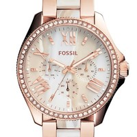 Women's Fossil 'Cecile' Resin Link Crystal Bezel Bracelet Watch, 40mm