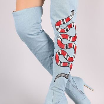 Denim Embroidered Snake Stiletto Over-The-Knee Boots
