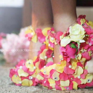 Yellow Fuchsia Rose Petal Mary Jane Wedge Shoes by PrettyRockGirl