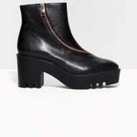 & Other Stories | Zip Leather Ankle Boots | Black