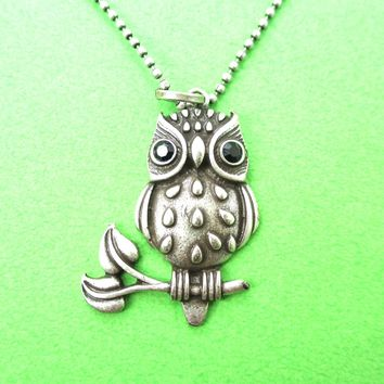 Cute Owl Bird On A Branch Bird Shaped Animal Pendant Necklace in Silver | DOTOLY