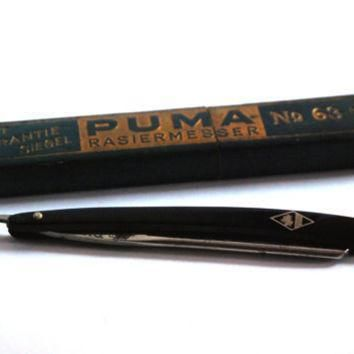 puma solingen no 63 3 8 vintage straight razor shaving knife barber knife retro barb  number 1