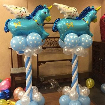 Hoomall 5PCs Aluminum Foil Unicorn Balloons Inflatable Balls For Holidays Baby Shower Wedding Ballon Birthday Party Decorations