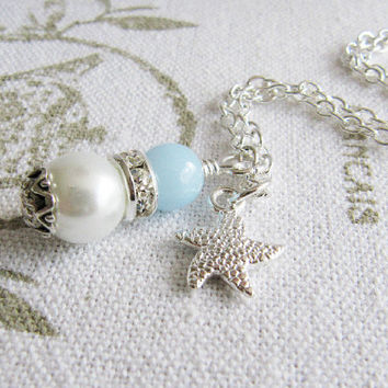 Starfish bridesmaid necklace, pearl necklace, beach theme weddings, beach jewelry, bridal party gift, silver